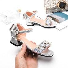 цена на ULKNN Cross Border for Girls Chunky-Heel Sandals A- line Dance Princess Shoes Middle And Large Boy Sandals