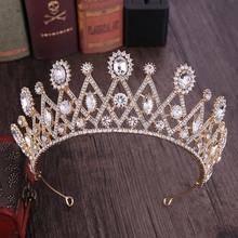 FORSEVEN цвета: золотистый, Синий, Красный Кристалл Стразы диадема queen тиара принцессы и короны невесты свадебные украшения на волосы резинки