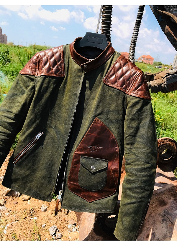 H594d3087e66e4cc7b8adb24bb1fd8c67O Free shipping.popular mens genuine leather Jacket,Us vintage Heavy wax canvas jacket stitching cowhide.quality.thick hard