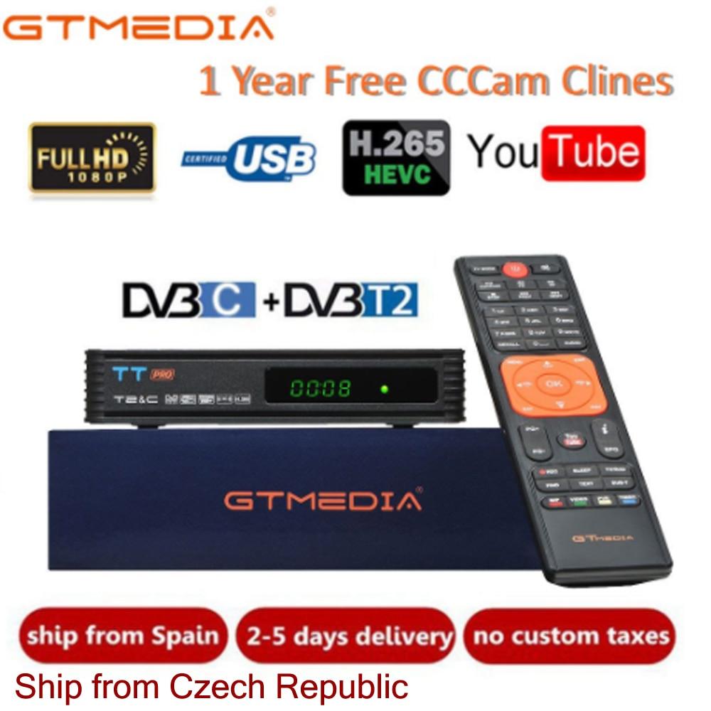 DVB T2 GTMEDIA TT Pro DVB-C DVB-T2/T Tunner TV Combo récepteur terrestre prise en charge H.265 + 1 an Europe espagne italie Cccam 5 lignes