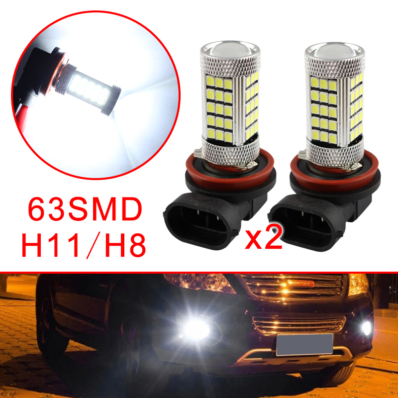 2Pcs 12V H8 H11 LED Car Projector Fog Driving Light Bulbs DRL White Lamp Color Style Trim Accessories|Car Fog Lamp| |  - title=