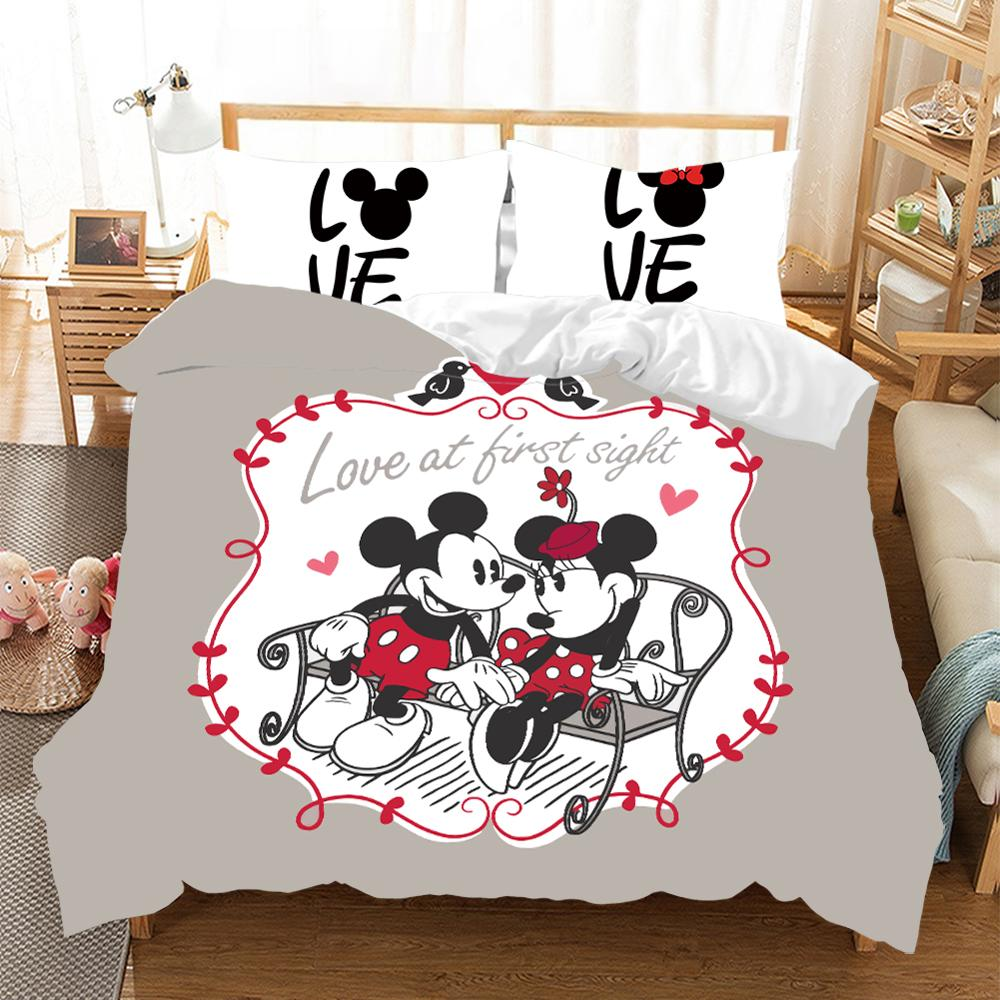 Abstract Gray Love Minnie Mickey Mouse Polyester Bedding Set Duvet Cover Pillowcases Single Double Queen for Children Home Decor