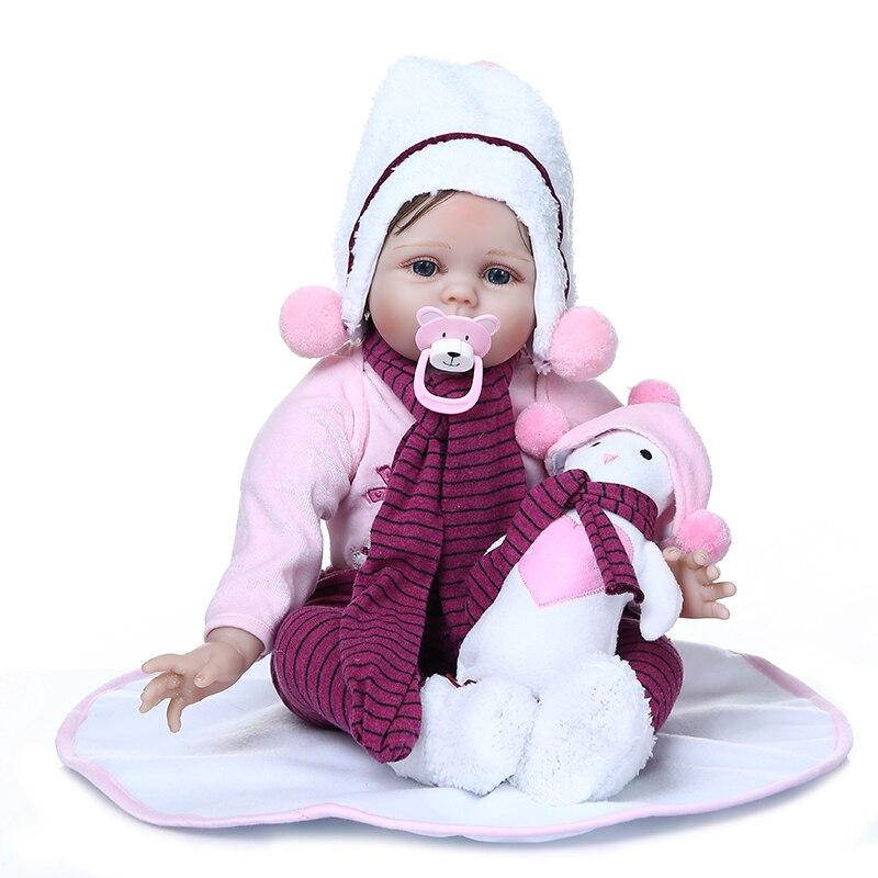 NPK poupée 55CM réaliste bebe reborn bébé poupée jouet à la main cheveux doux lesté corps nouveau-né vivant babys poupée cadeau d'anniversaire
