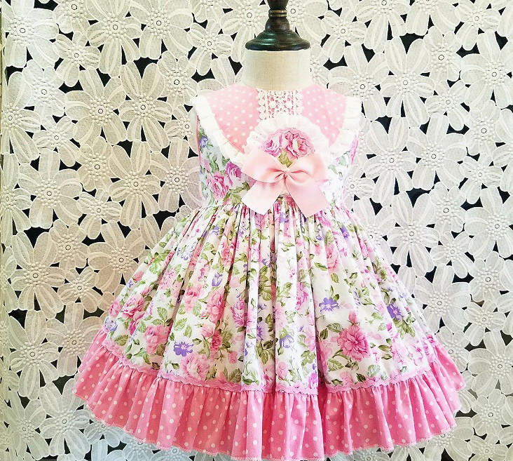 Toddler Baby Girl Princess Dress Vintage Floral Print Party Dresses Headband Summer Outfits 2pcs