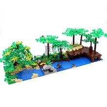 Moc diy庭の木中庭啓発するビルディングブロックレンガ互換鉢植えの装飾アセンブルとストリートビュー