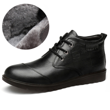 Genuine Leather Men Winter Boots Warm Thicken Fur Men's Ankle Boots Fashion Male Business Office Formal Leather Shoes цены онлайн