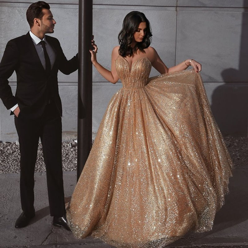 Eightree Sexy Gold Sequin Prom Dresses Sweep Train Beaded A Line Special Occasion Evening Gowns Spaghetti Straps Backless Dress
