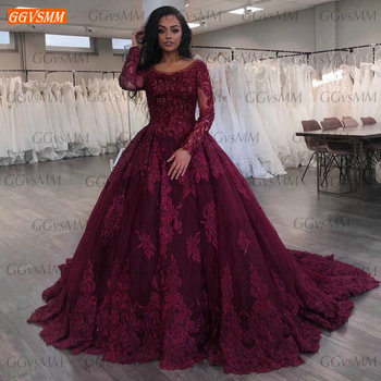 Chic Evening Dress Long Sleeves Lace Appliqued Beaded Ball Gown Women Dresses Party Custom Made 2020 Abiti Da Cerimonia Sera - discount item  37% OFF Special Occasion Dresses