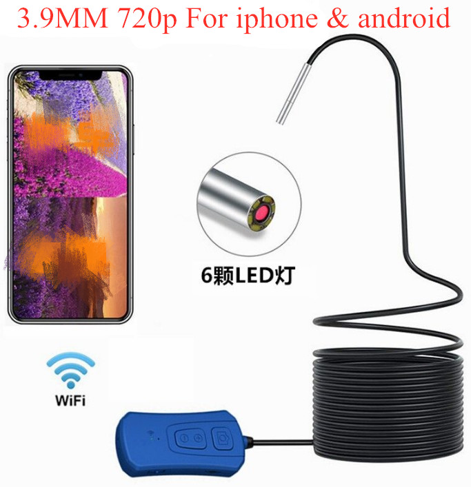 3.9mm 720P Wireless HD WIFI Endoscope Inspection Borescope Camera Water-proof Otoscope for iphone and Android