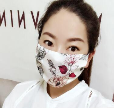 Women's spring summer flower print thin natural silk mask female sunscreen driving dust protection mouth-muffle R1060 4