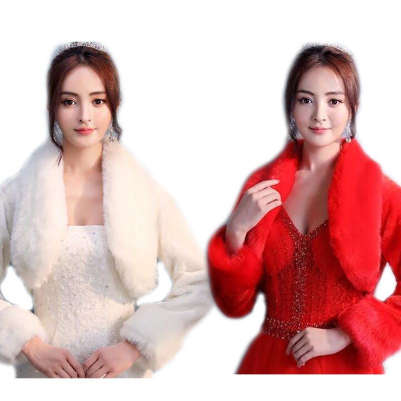 Wedding Bridal Bridesmaid Winter Long Sleeve Bolero Jacket Thicken Warm Plush Womens Lapel Collar Evening Party Shawl Wraps Coat