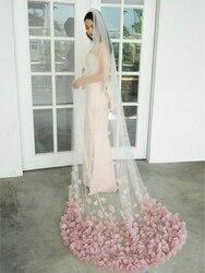 Высококачественная мягкая фатиновая женская свадебная фата, румяна, вуаль с лепестками для невесты, уникальные свадебные аксессуары