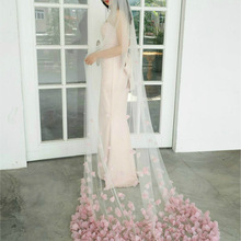 Bridal Veils Wedding-Accessary Blush Tulle Chapel Customized Woman Soft for Unique Petals