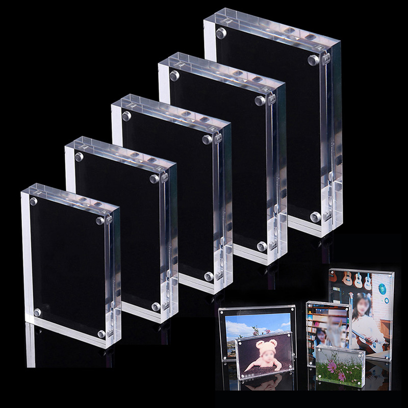 Acrylic Photo Frame Magnetic Picture Photo Poster Display Frame Table Sign Price Tag Freestanding Clear Label Paper Promotion