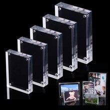 Cadre Photo magnétique en acrylique, affiche Photo, cadre d'affichage, panneau de Table, étiquette de prix, transparent, indépendant, Promotion