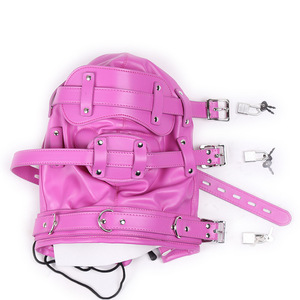 Image 4 - New Fetish SM Hood Headgear With Mouth Gag PU Leather BDSM Bondage Sex Mask Hood Toys Adult Games Sex Product For Couples