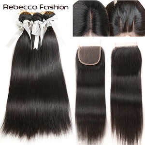 peruvian malaysian brazilian straight human hair bundles with closure(China)