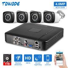 Towode 4MP 4CH APP PC 원격 모니터링 보안 DVR AHD 야외 방수 자동 모션 감지 알람 카메라