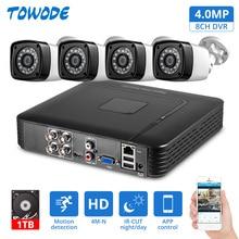 Towode 4MP 4CH APP PC Remote Überwachung Sicherheit DVR mit AHD Freien Wasserdichte Auto motion erkennung Alarm Kamera