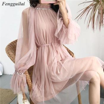 2020 Spring Korean Style Elegant Mesh Beading Girl Dresses Basis Bodycon Sweet Knee-Length Solid Dresses Flare Sleeve mayoral dresses 10685167 girl children fitted pleated skirt pink polyester casual solid knee length sleeveless sleeve