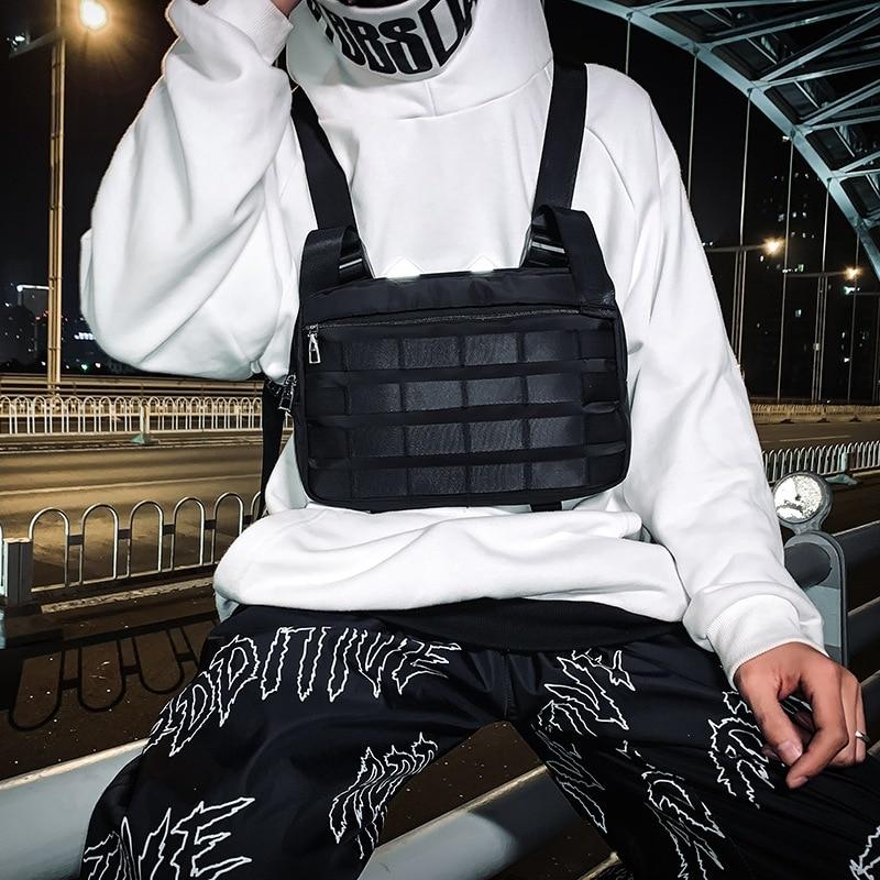 Chest Rig Bags Streetwear Men Fashion Hip-Hop Chest Bag Women Tactical Vest Strap Chest Pack Trendy Style Rectangle Fanny Pack