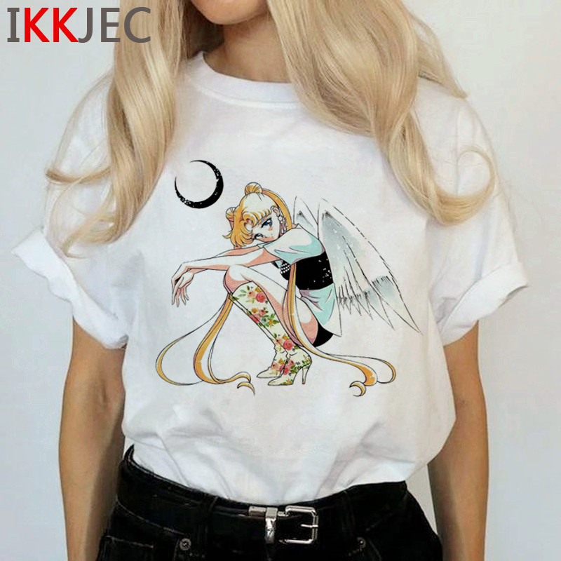 Kawaii Sailor Moon Funny Cartoon T Shirts Women Harajuku Ullzang Cute T-shirt Usagi Graphic Tshirts Korean Style Top Tees Female 2