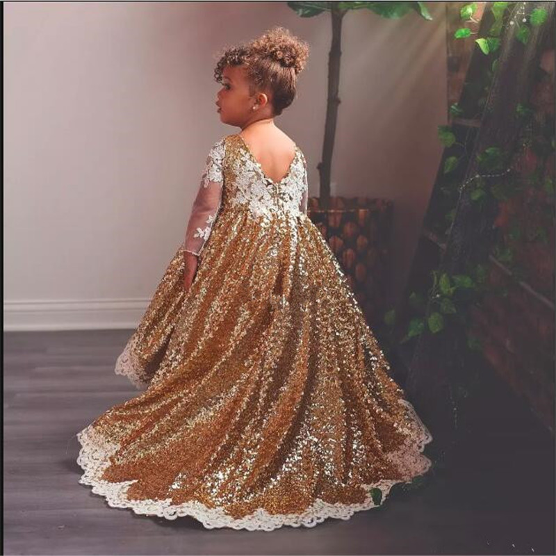 Wholesale Long Sleeve Gold Sequin Lace Applique Beauty Pageant   Dresses   For   Girls     Flower     Girl     Dresses