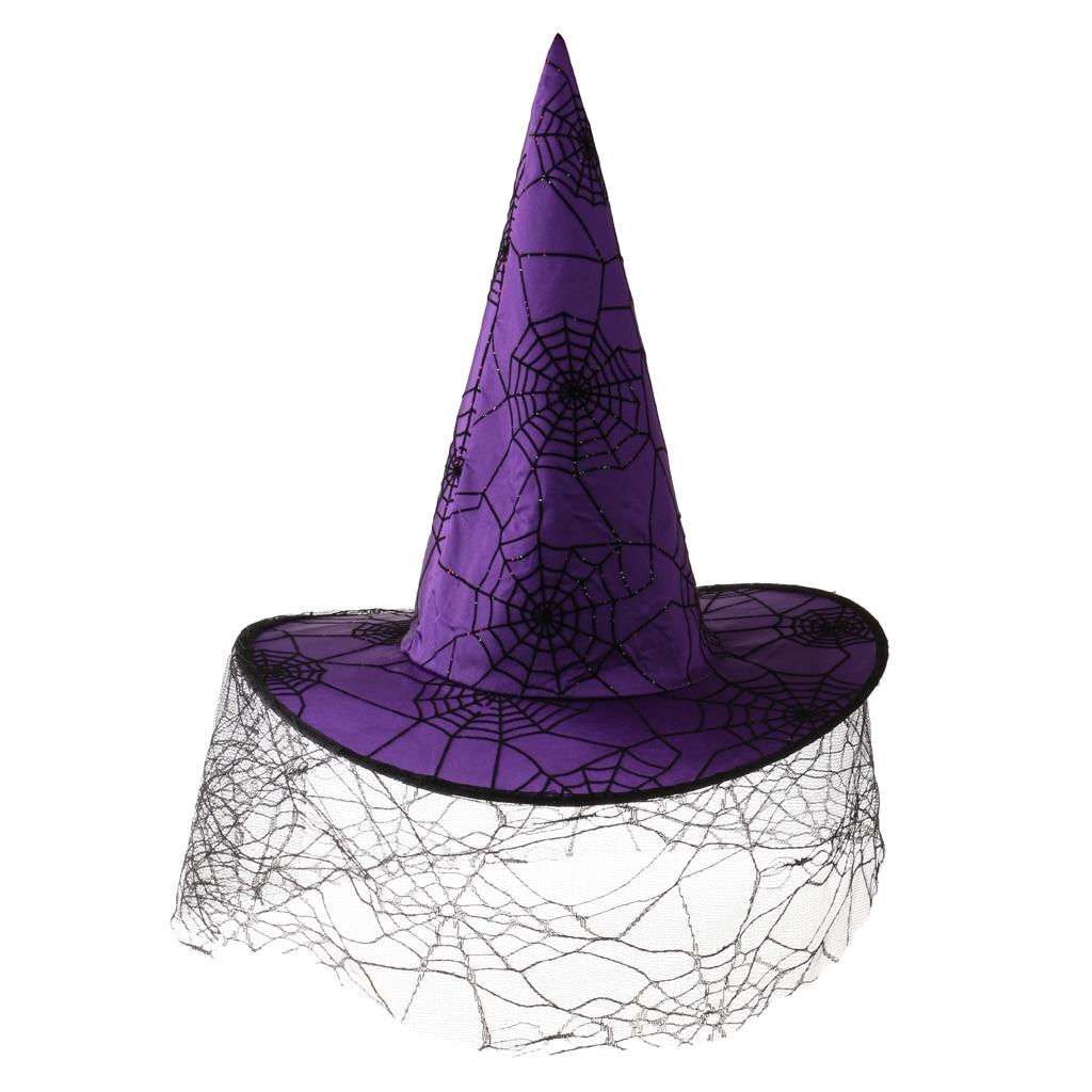 Women Girls Halloween Peaked Cap Veil Spiderweb Purple Satin Witch Hat Party Costume Accessory