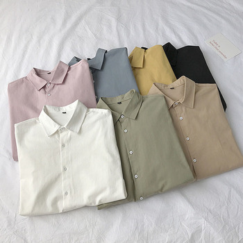 Autumn New Korean Fashion Men s White Shirt Casual Long Sleeved Shirts Pink Khaki Black