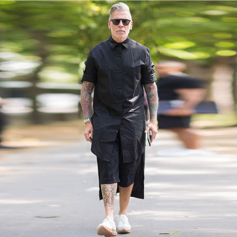 Dark Black Front Short Long Super Long Sleeve Shirt Large Size Shirt Personality Robe Jacket Tide Male Lazy Wind Men