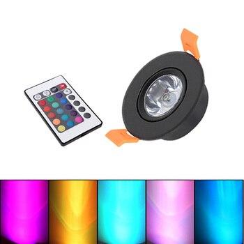 RGB LED Downlight Mini Round 3W AC110V 220V LED ceiling Light Recessed Spot Light DC12V For Bar Ktv Living Background Wall lamp фото