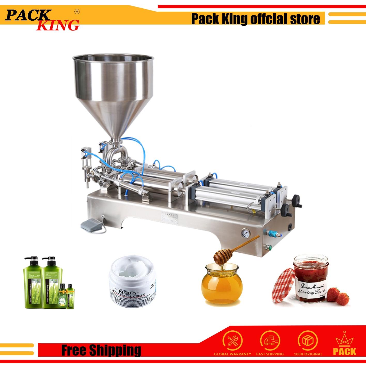 Paste Filling Machine Pneumatic Semi Auto Filler Double Heads Shampoo Lotion Cream Sauce Food Piston Filler Free Shipping