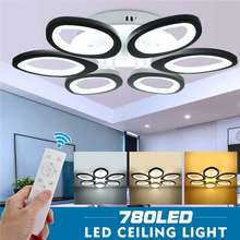 ¡Novedad de 780! lámpara LED de techo con control remoto, luces de techo LED modernas, cabezas blancas de 6L para sala de estar, dormitorio, lámpara regulable, accesorio