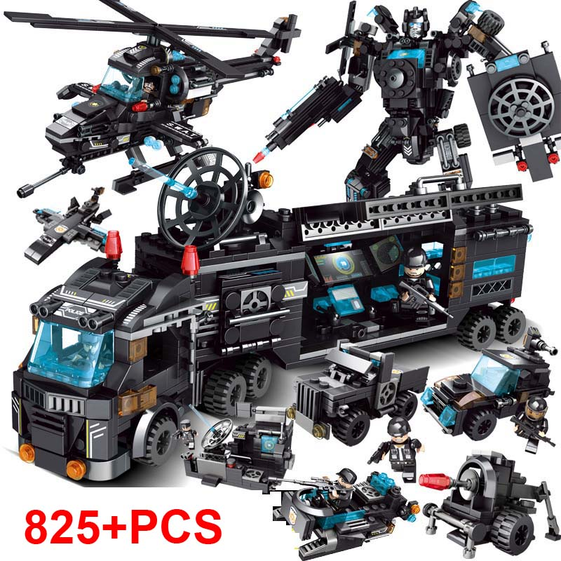 825pcs City Police Station Building Blocks Compatible Legoingly City SWAT Team Truck Blocks Educational Toy For Boys Children