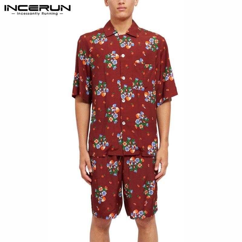 INCERUN Summer Printed Suits Men Hawaiian Vocation Sets Casual Short Sleeve Lapel Blouse Loose Shorts 2 Pieces Streetwear S-5XL7