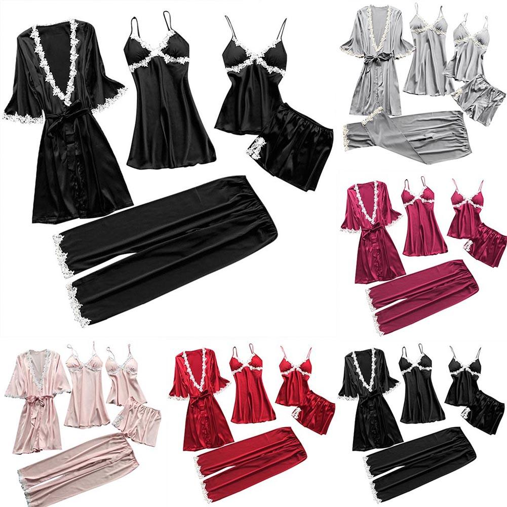 5Pcs Sexy Sleepwear Set Women Sexy Women's Robe & Gown Sets Lace Bathrobe/Nightdress/Pants/Shorts Set Femme Nightwear Sleepwear