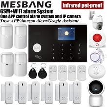 home wifi GSM alarm system wireless security kits with pir sensors door detector and IP camera tuya App control