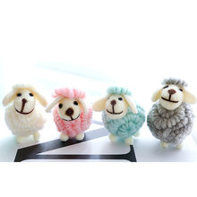 Felt lamb Wool colorful lamb home ornaments Christmas accessories Christmas tree Cute home decor wool doll Desktop wall hangings(China)