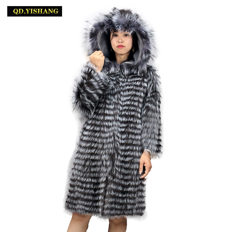 Real Fur Coat Fox Fur Coat Women Winter Warm Fox Fur Hooded Coat Long Section Hooded QD.YISHANG