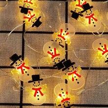 2M 20LED Kerstman Snowman Boom Licht Snaar Kerstversiering Voor Thuis 2020 Kerst Ornamenten Xmas Gift Nieuwe Jaar 2021