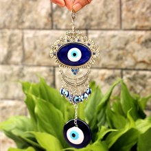 Alloy Blue Evil Eyes Pendant Glass Wall Car Hanging Decoration Turkish Polished Home Decoration Party Gifts(China)