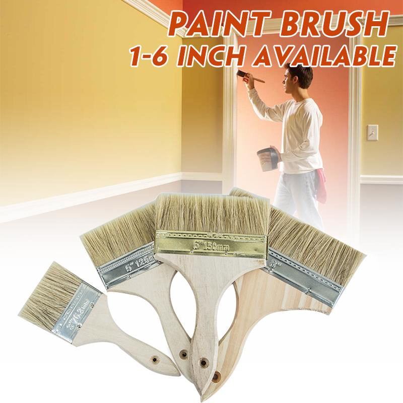1PCS High Quality Wooden Handle Paint Brush Pig Hair Paint Brushes Brush Wall Decor Reusable Home Tool