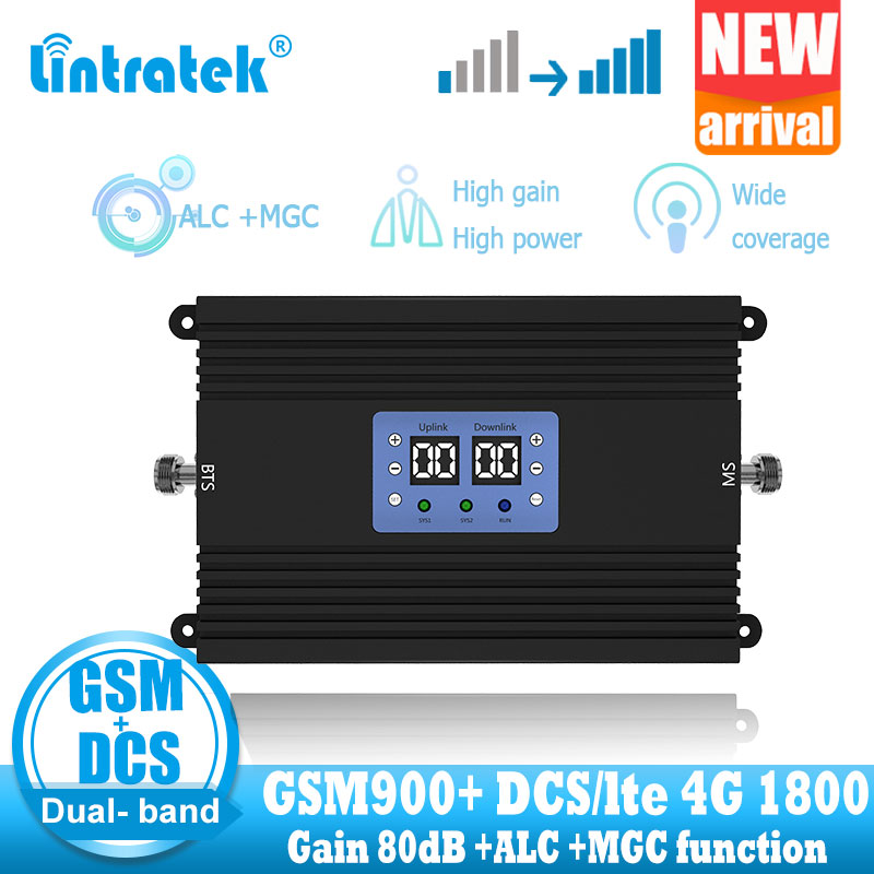 NEW Lintratek Gsm 900MHZ 4G Signal Amplifier Repeater 2g 4G DCS LTE 1800 GSM Dual Band Signal Booster Repeater High Gain + Power