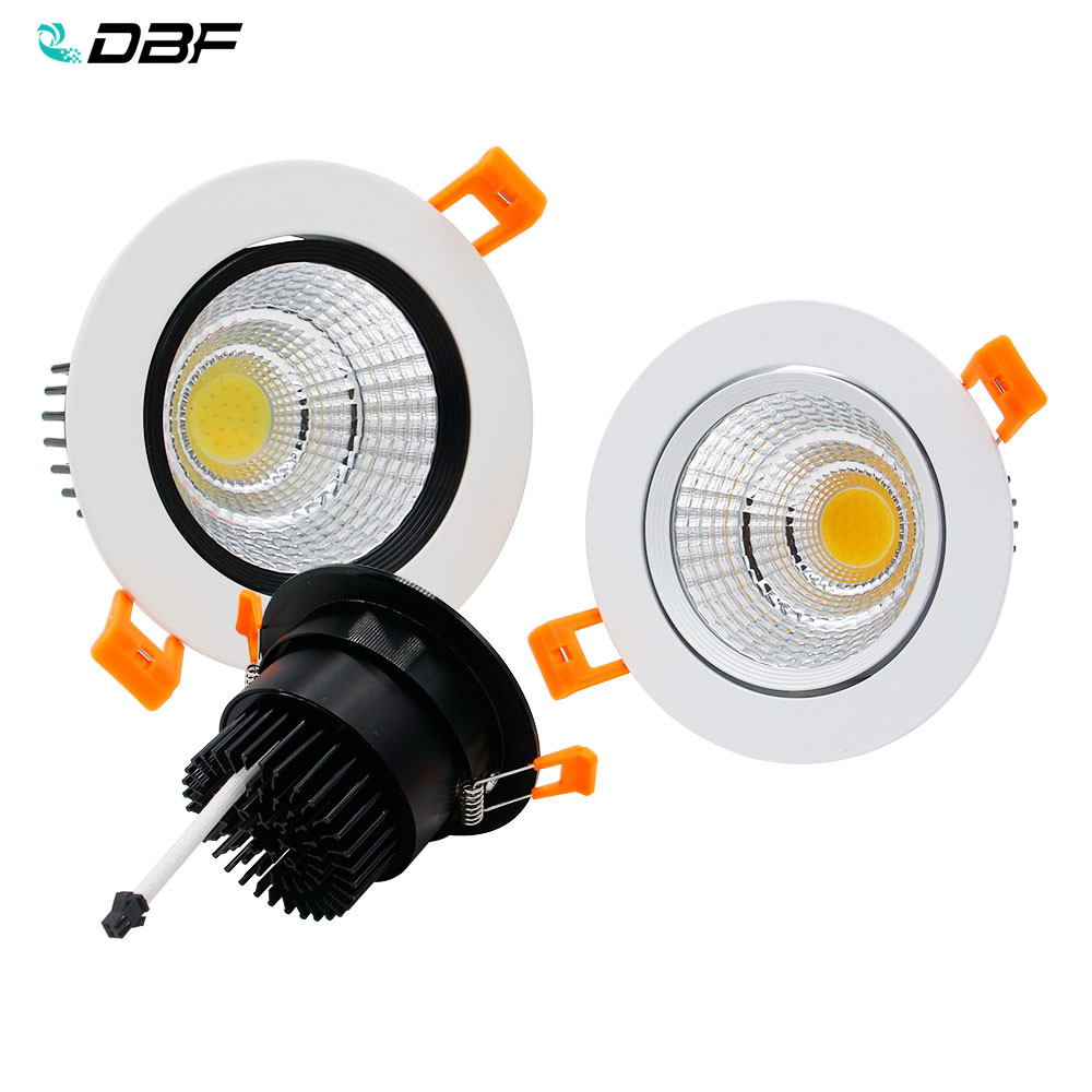 [DBF]2019 New Super Bright Epistar COB LED Recessed Downlight 5W 9W 12W 3000K/4000K/6000K LED Ceiling Spot Light AC110/220V