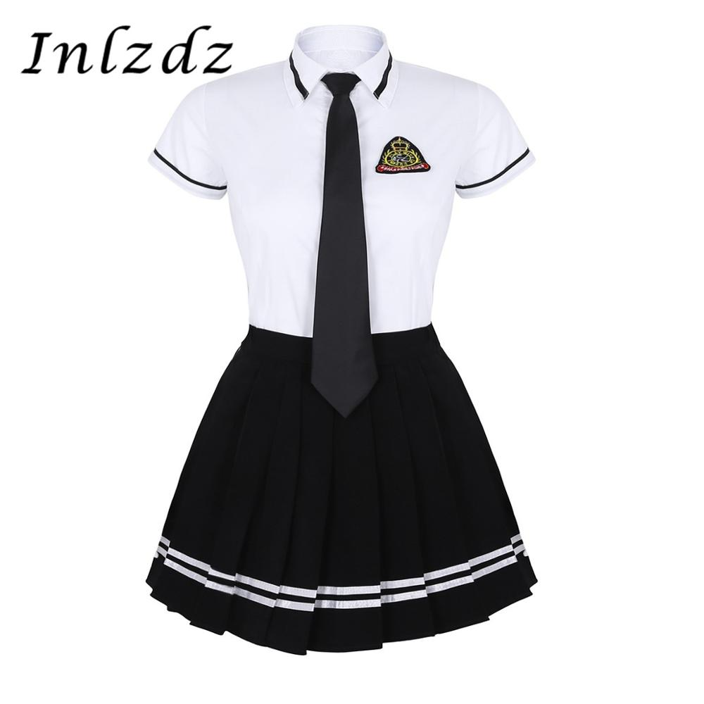 Women Girls School Uniform Suit Short Sleeve T-shirt Top School Skirt With Badge And Tie Set High School Role Play Clothing