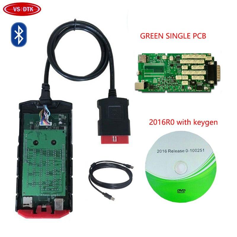 2019 Mais Novo de 2016. vd R0 com keygen para delphis ds150e cdp bluetooth verde único relés de bordo do caminhão do carro obd obd2 Scanner.