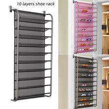 Multi function Behind Door 10 Layers Shoe Rack Hanging Mesh Shoe Organizer Space Saving Shelf Holders Storage Cabinet Furniture