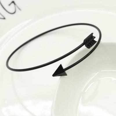 Zyzq moda simples pulseira para mulher adorável seta triângulo pena em forma ajustável aberto bangle para venda por atacado lotes & granel