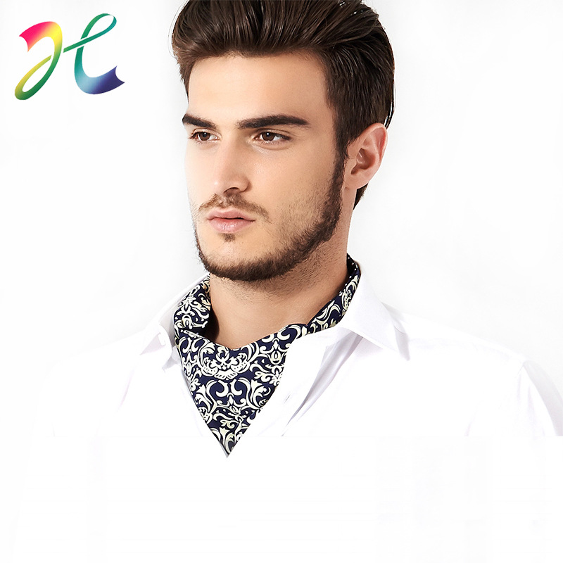 Cross Border For Currently Available Men Neckerchief Gift Box Shirt Polyester Printed Neckline Scarf Men Europe And America Engl