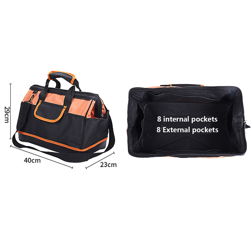 18 Inch Waterproof Molded Base Large Capacity Pouch Tools Storage Bags Oxford Fabric Professional Single Shoulder Tool Bag